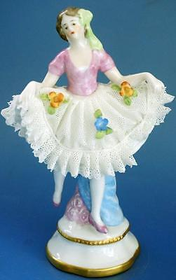 Vintage Sitzendorf Continental Porcelain Figurine Wearing Dresden Lace Dress