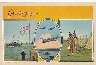 """Greetings from somwhere"" Canadian Forces Overseas WWII PECO Patriotic Postcard"