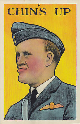 """Chin's Up"" Royal Canadian Air Force WWII Patriotic PECO Postcard"