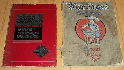 Five Roses Flour Cook Book Lot (2) 1938 & 1915 Bread Pastry Guide Cooking