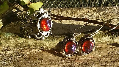 Dragon's Breath Fire Opal Ring and Earrings Leaves Breathtaking Spring SALE