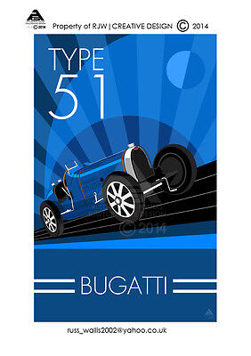 Bugatti Type 51 A3 Poster Illustration