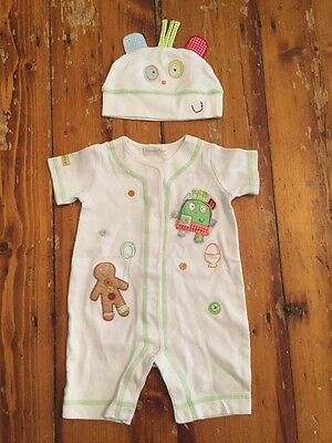 mamas and papas Playsuit & Hat Age 0-3 Months