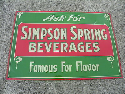 SIMPSON SPRING BEVERAGES 1930's TIN SODA SIGN GREEN/RED