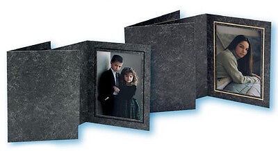 4 x 6 Cardboard Photo Folder, ( Black Marble with Inner Gold Border, pack of25 )