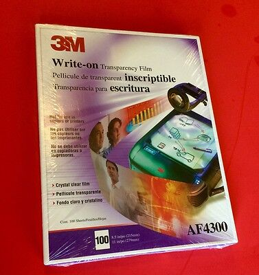"""New Box 3M AF4300 Write-On Transparency Film 8.5"""" x 11"""" Size 100 Count/Box"""