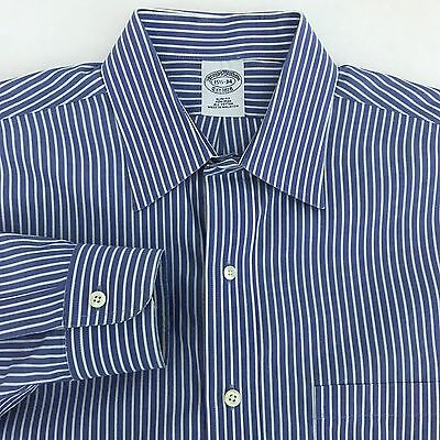 Brooks Brothers Spread Collar Slim Fit Dress Shirt Men's 15.5 - 34 Blue White