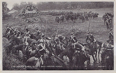 British Army 2nd Dragoon Guards (Queen's Bay) watering Horses 1908 G.D.&D.