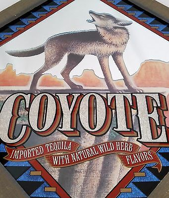 Rare Coyote Tequila Framed Bar Mirror Sign Advertising Tavern Pub Decor 21x21
