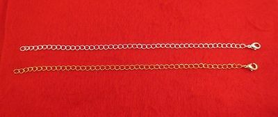 10 Inch 14Kt Gold & Silver Plated 4Mm Necklace Extender W/ Lobster Claw Set
