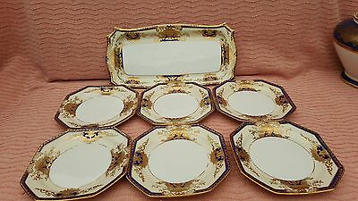Fab Heavy Gilded Noritake 7 Piece Sandwick Set.
