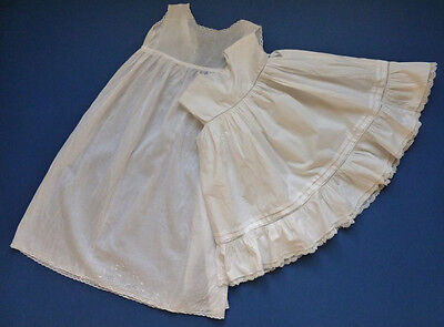 TWO ANTIQE BABY PETTICOATS, ONE WITH A FRILL AND HAND MADE LACE - Hand Made