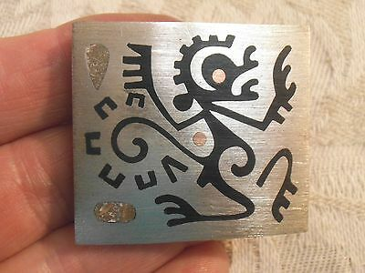 Vintage Taxco Sterling Inlaid Onyx  Abstract Petroglyph Monkey Brooch Pendant