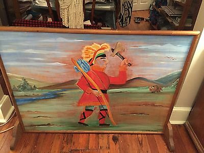 Vintage 70s? Folk Art Native American Primitive Painting Pick  Up Only Philly