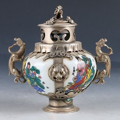 Chinese Crusted Silve Inlay porcelain Handwork Carved Incense Burner EP0023
