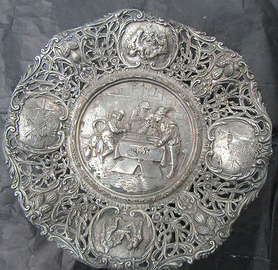 Antique Silver Plate Stand Pierced And Hammered