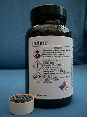 250g iodine crystals: 99.9% high purity, PHARMACEUTICAL grade