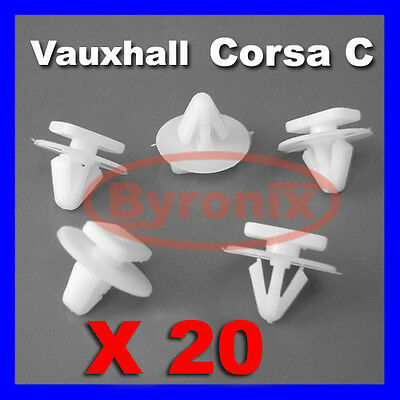 20 Vauxhall Opel Corsa C Combo Front Exterior Wheel Arch Wing Fender Trim Clips