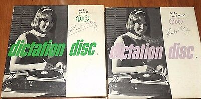 Dictation Disc 2 SETS of 4 Shorthand Speed Development Vintage 45RPM Records
