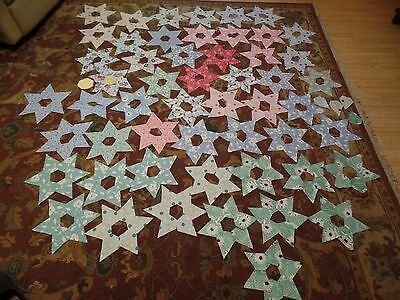 53 Vintage 1930's DAHLIA Flower Blocks To Finish For Quilt, Great Vintage Fabric