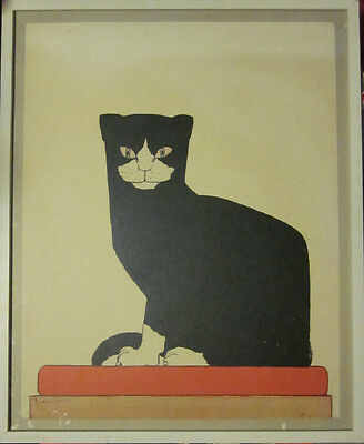 Framed black & white cat in repro.of print by Bart Van der Leck The Cat 1914