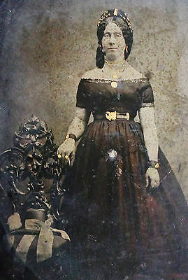 Antique Civil War Era Tintype Photo Of A Lovely Young Woman In Hoop Dress As Is