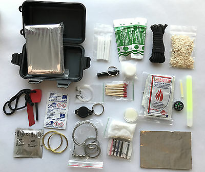Survival Kit, waterproof Hard Case, Camping army DofE scouts EDC Equipment BOB