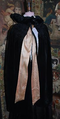 Gorgeous Antique Victorian Velvet & Embroidered Silk Reversible Cloak