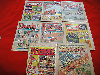 9x UK COMICS ~DANDY~TV COMIC~BEEZER~WHOOPEE~WHIZZER CHIPS~MONSTER FUN~BUSTER~70s