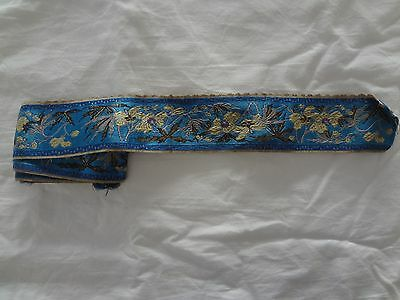 "Antique vintage blue silk gold metallic embroidered dress ribbon trim 2 "" x 58 """