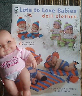 Lots to Love 8 inch Berenguer Baby doll with Knitting Pattern book baby dolls