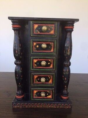 Small Antique Indian Painted Hardwood Cabinet