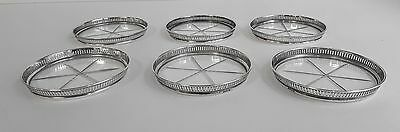 6 COASTERS Vintage Reticulated STERLING SILVER & CUT GLASS 6-Point Star NESTING