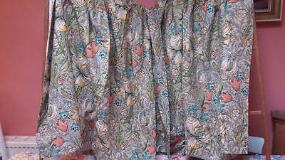 Pair Vintage William Fabric Linen Curtains Cottage Floral Golden Lilly
