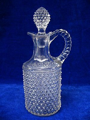 """Vintage Hobnail Glass Clear Cruet Hand Blown With Pontil & Stopper 9.25"""" Tall"""