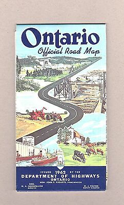 1962 Ontario Official Road Map. Department of Highways Ontario Exc Cond