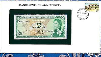 *Banknotes of All Nations East Caribbean 5 Dollars 1965 AUNC P14h sign 10  D11