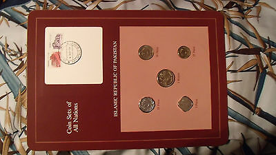 Coin Sets of All Nations Pakistan w/card 1984 UNC 1 Rupee, 50, 25, 10, 5 Paisa