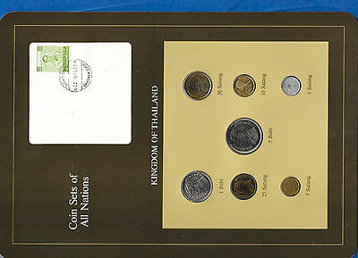 Coin Sets of All Nations Thailand 1957-1982 UNC green stamp 1 Baht 1977