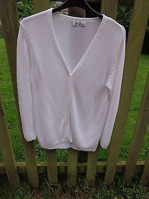 Super!  Betty Barclay Quality Ladies Bright White Cotton Mix Cardigan Size Uk 14