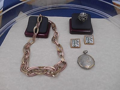 Estate finds mixed deco ANTIQUE LOT rose gold necklace vict locket mexican more