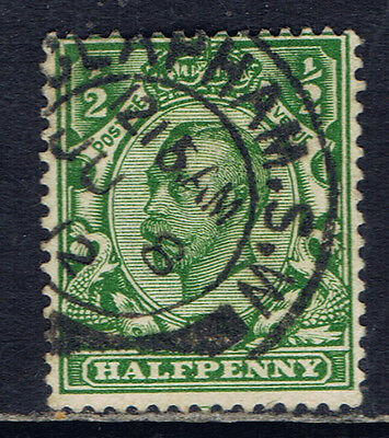 Great Britain #151(2) 1911 1/2 pence green King George V CLAPHAM S.W. CV$4.50