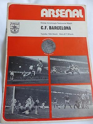 Arsenal Barcelona George Armstrong Testimonial March 1973 Match Programme