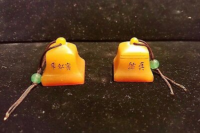 A Pair of Chinese Shou Shan Stone Bell Shaped Seals