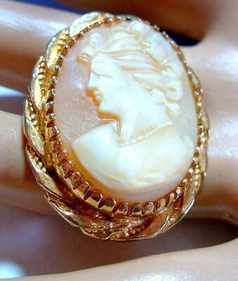 vintage REAL CARVED SHELL LADY FACE  pink CAMEO BROOCH gold tones EXCELLENT