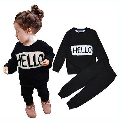 US 2PCS Baby Boys Girls Clothes Outfit Sports Long sleeve T-Shirts+Pants Set 120