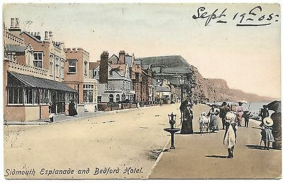 Sidmouth Esplanade and Bedford Hotel - Frith - postmark 1905