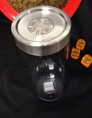 Starbucks Clear Acrylic Stainless Steel Lid Coffee Bean Canister