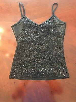 Black Sequined Girls Dance Top Size Child Large