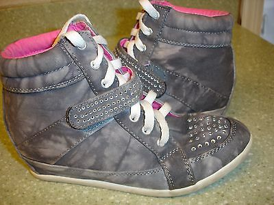Girl's Justice Rhinestoned High Topped Sneakers/tennis Shoes-Size 5-Grey